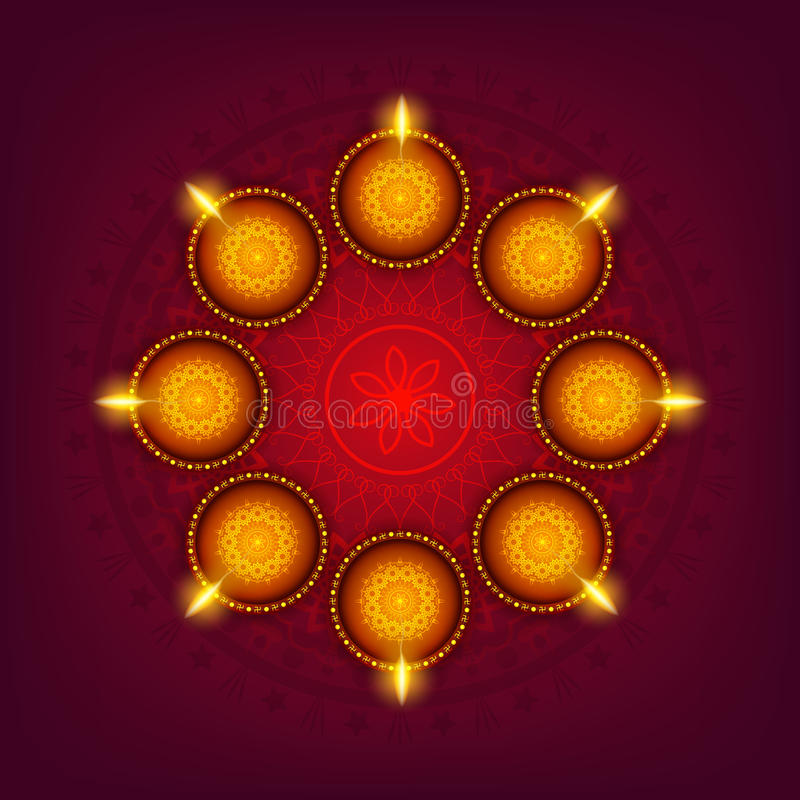 Carte de voeux avec des lampes de Lit pour Diwali