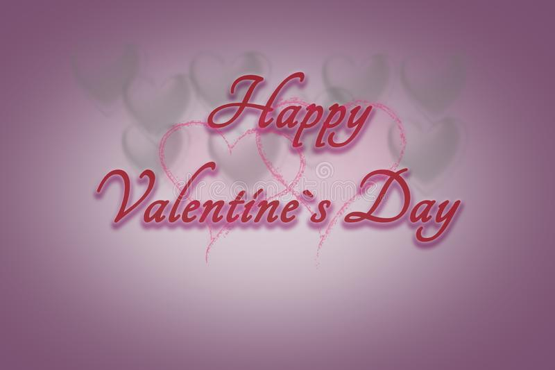 Carte de voeux avec différents coeurs pendant l'arrière-plan et le jour de valentines heureux des textes photographie stock libre de droits
