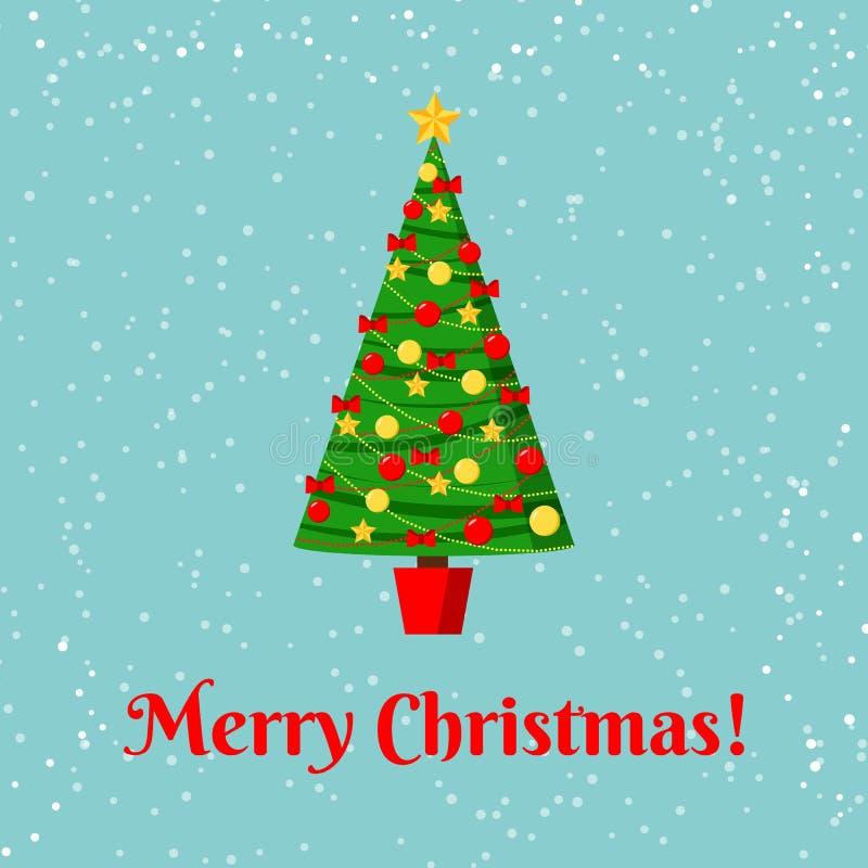 Carte de voeux avec l'arbre de Noël décoré dans un pot avec l'étoile, les boules de décoration et les arcs illustration de vecteur