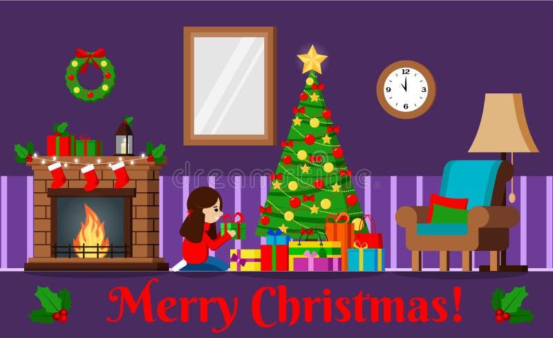Carte de voeux avec l'arbre de Noël et les cadeaux décorés sous l'arbre, cheminée, meubles illustration stock