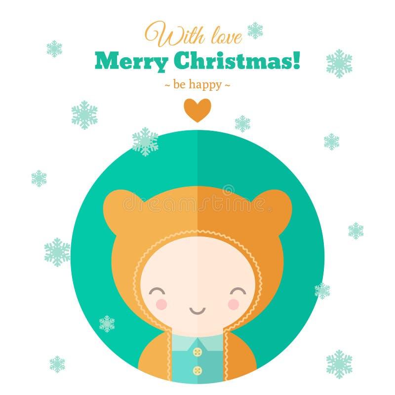 Carte de voeux avec l'enfant d'amusement pour Noël dans l'appartement illustration libre de droits