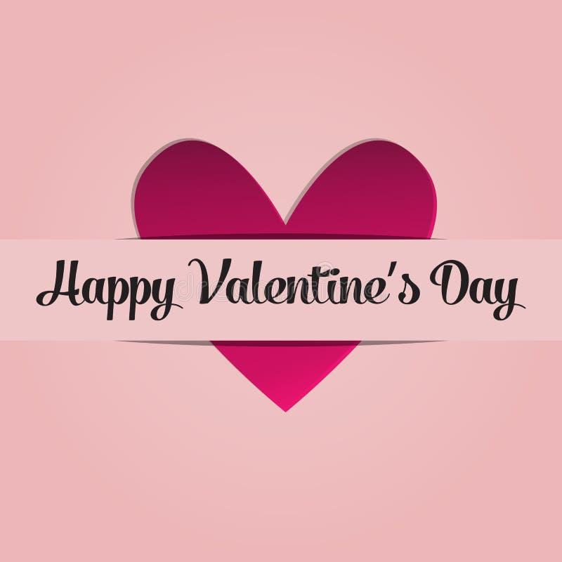 Carte de voeux avec l'image du coeur St Valentine de jour de félicitations le 14 février Image avec la déclaration de l'amour illustration libre de droits