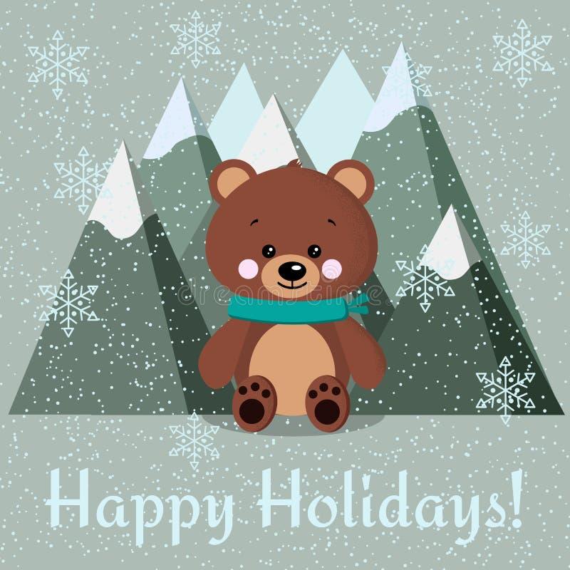 Carte de voeux avec l'ours brun mignon avec l'écharpe et les montagnes sur le fond neigeux illustration de vecteur