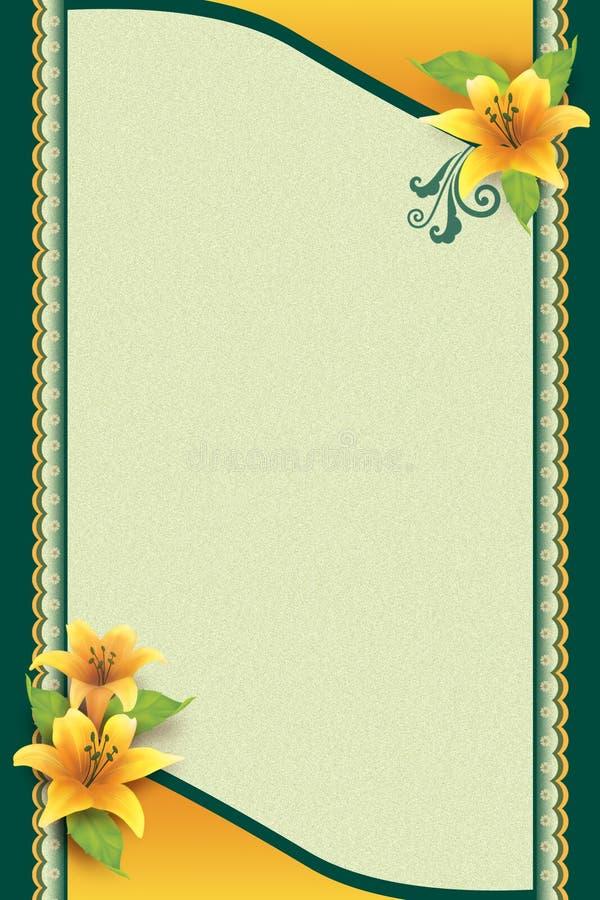 Carte de voeux avec la fleur et le fond ornemental illustration de vecteur