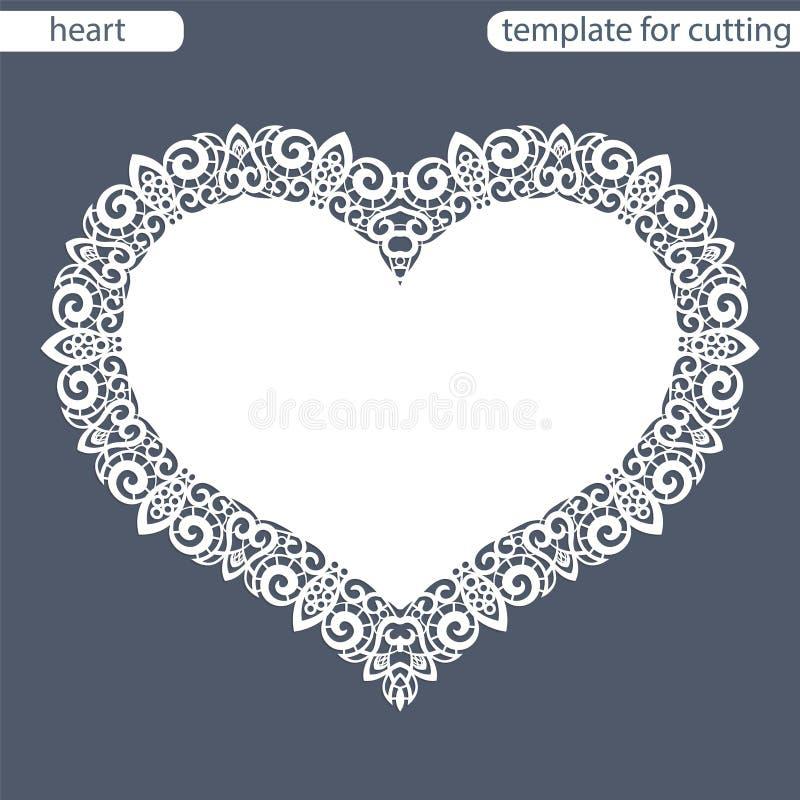 Carte de voeux avec la frontière à jour, napperon de papier sous le gâteau, calibre pour couper sous forme de coeur, carte de val illustration stock