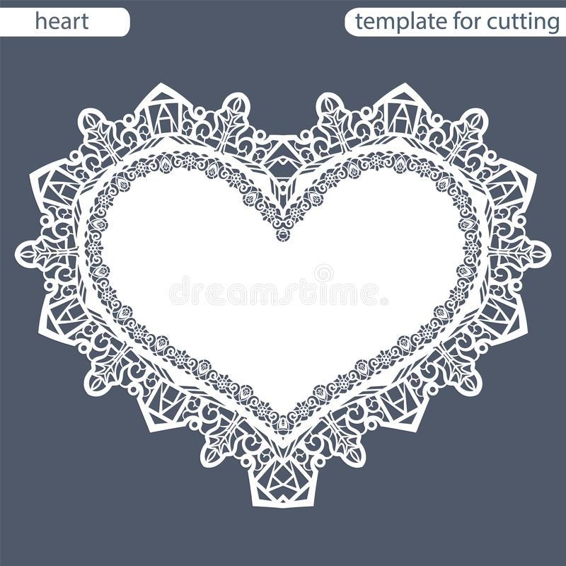 Carte de voeux avec la frontière à jour, napperon de papier sous le gâteau, calibre pour couper sous forme de coeur, carte de val illustration de vecteur