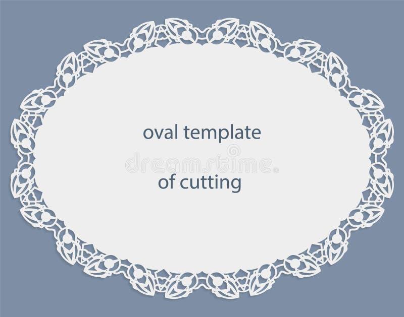 Carte de voeux avec la frontière ovale à jour, napperon de papier sous le gâteau, calibre pour couper, épousant l'invitation, pla illustration stock