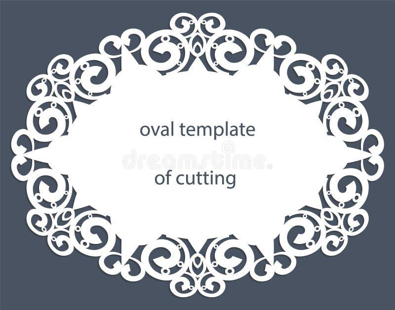 Carte de voeux avec la frontière ovale décorative, napperon du papier sous le gâteau, calibre pour couper, épousant l'invitation, illustration de vecteur