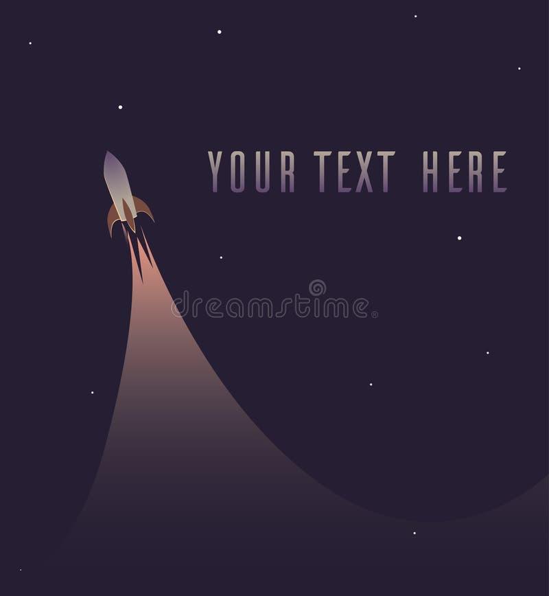 Carte de voeux avec la fusée de vol illustration libre de droits
