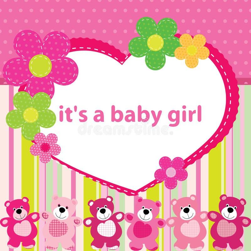 Carte de voeux avec la naissance d'un bébé illustration libre de droits