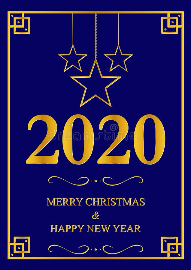 Carte de voeux avec la nouvelle année 2020 illustration libre de droits