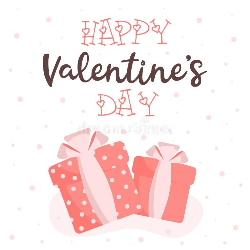 Carte de voeux avec la Saint-Valentin sur un fond blanc illustration libre de droits