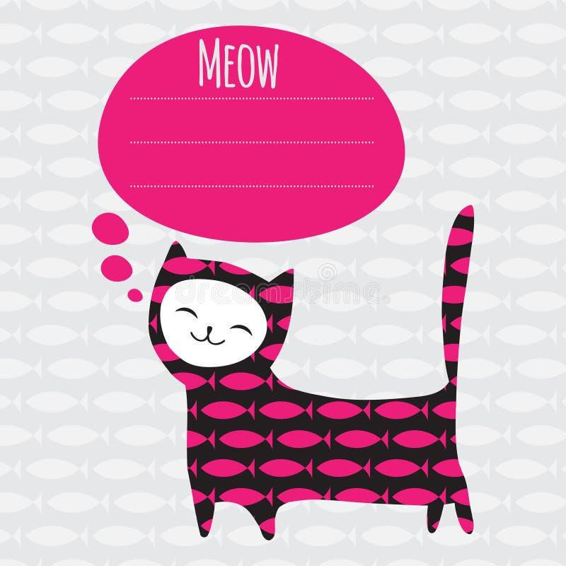 Carte de voeux avec le chat illustration stock