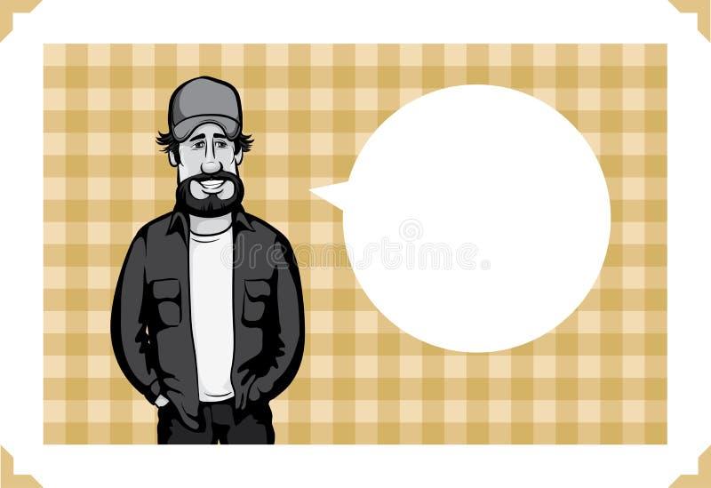 Carte de voeux avec le chauffeur de camion illustration libre de droits