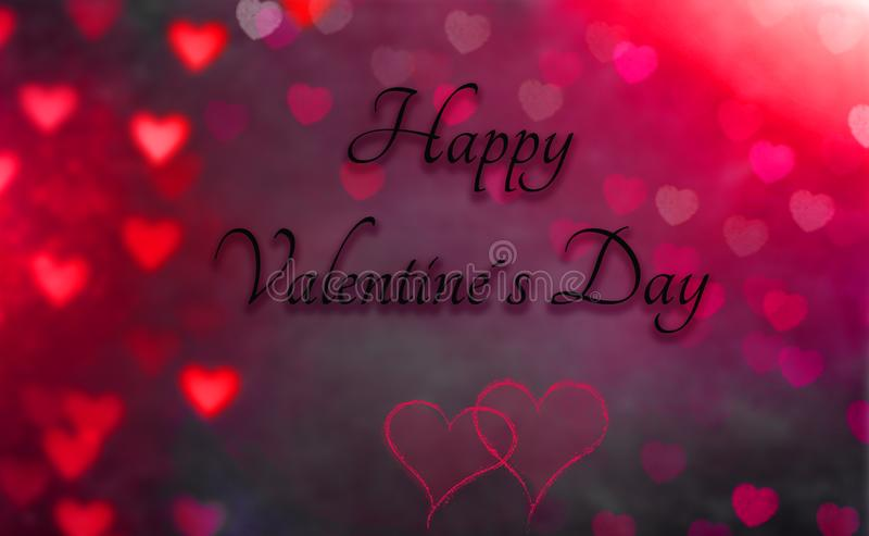 Carte de voeux avec le coeur à l'arrière-plan et à un jour de valentines heureux des textes photo libre de droits
