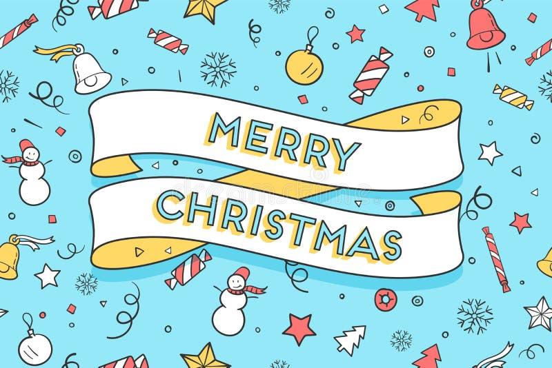 Carte de voeux avec le Joyeux Noël à la mode de ruban et de textes illustration stock