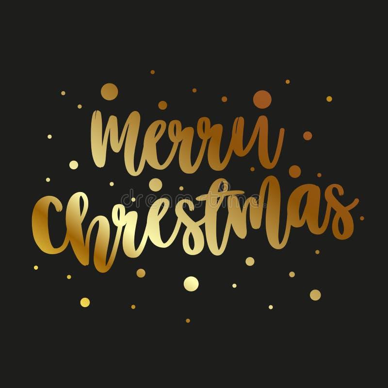 Carte de voeux avec le Joyeux Noël d'inscription d'or sur un fond foncé illustration de vecteur