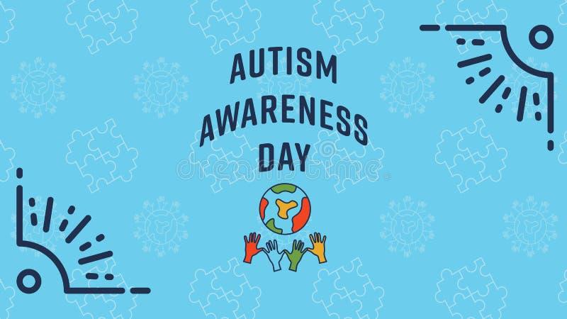 Carte de voeux avec le message de jour de conscience d'autisme illustration stock
