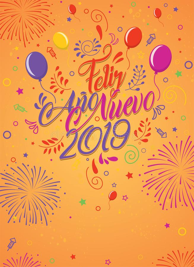Carte de voeux avec le message : Feliz Ano Nuevo 2019 Carte décorée des ballons illustration de vecteur