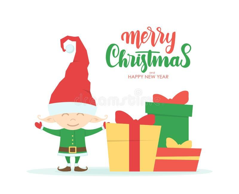 Carte de voeux avec le personnage de dessin animé de peu d'Elf, boîte-cadeau et lettrage manuscrit de Joyeux Noël illustration stock