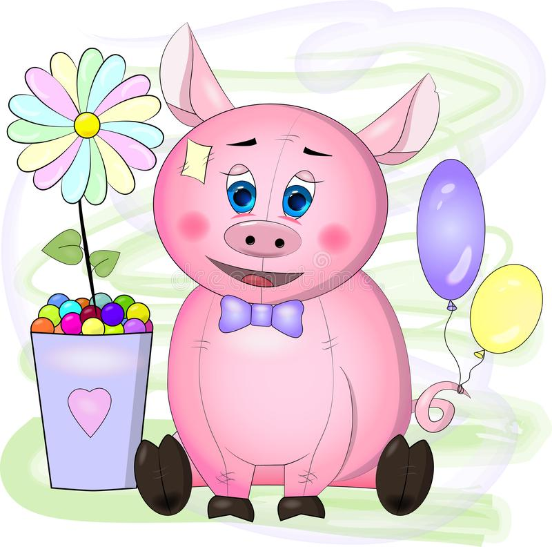 Carte de voeux avec le porc de rose de bande dessinée avec les yeux bleus, la fleur et les boules illustration stock