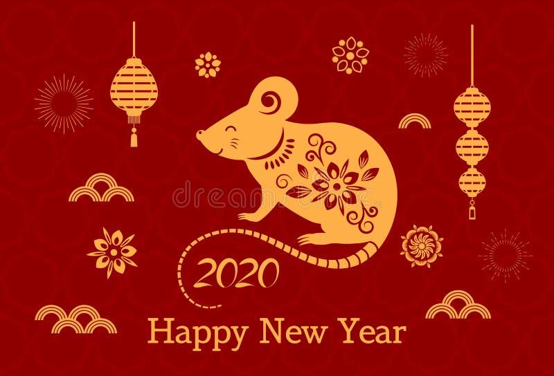 Carte De Lasie 2020.Carte De Voeux Avec Le Rat Blanc Chinois De La Nouvelle