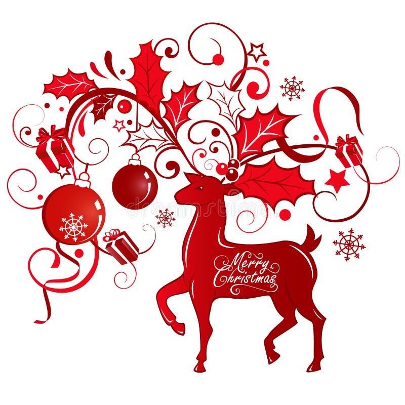 Carte de voeux avec le renne illustration libre de droits