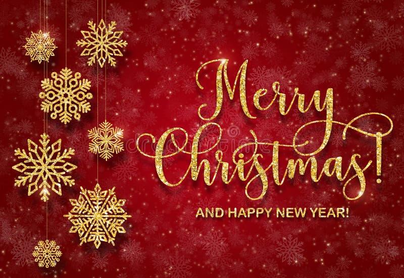 Carte de voeux avec le texte d'or sur un fond rouge Joyeux Noël et bonne année de scintillement photo libre de droits