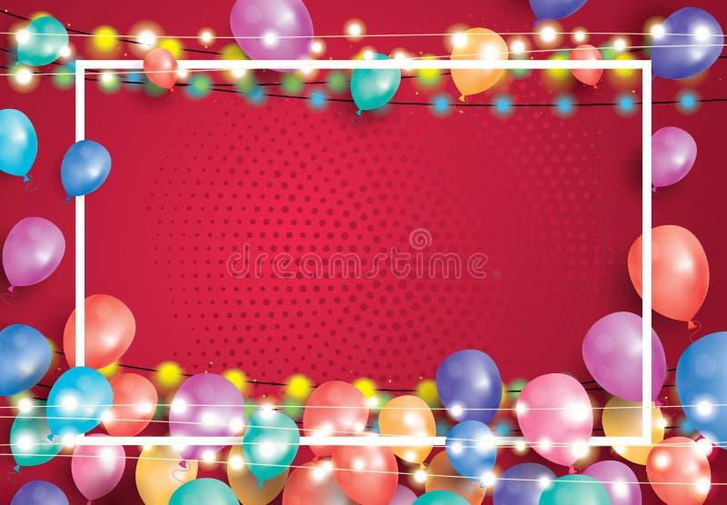 Carte de voeux avec les ballons, le cadre blanc et la guirlande de néon illustration libre de droits
