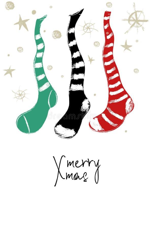 Carte de voeux avec les bas décoratifs de Noël illustration de vecteur