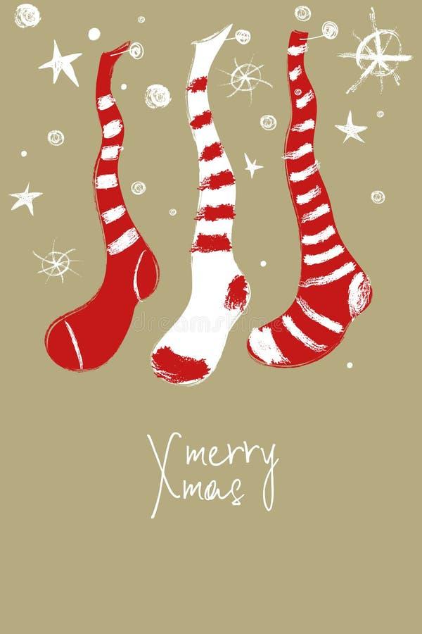 Carte de voeux avec les bas décoratifs de Noël illustration stock