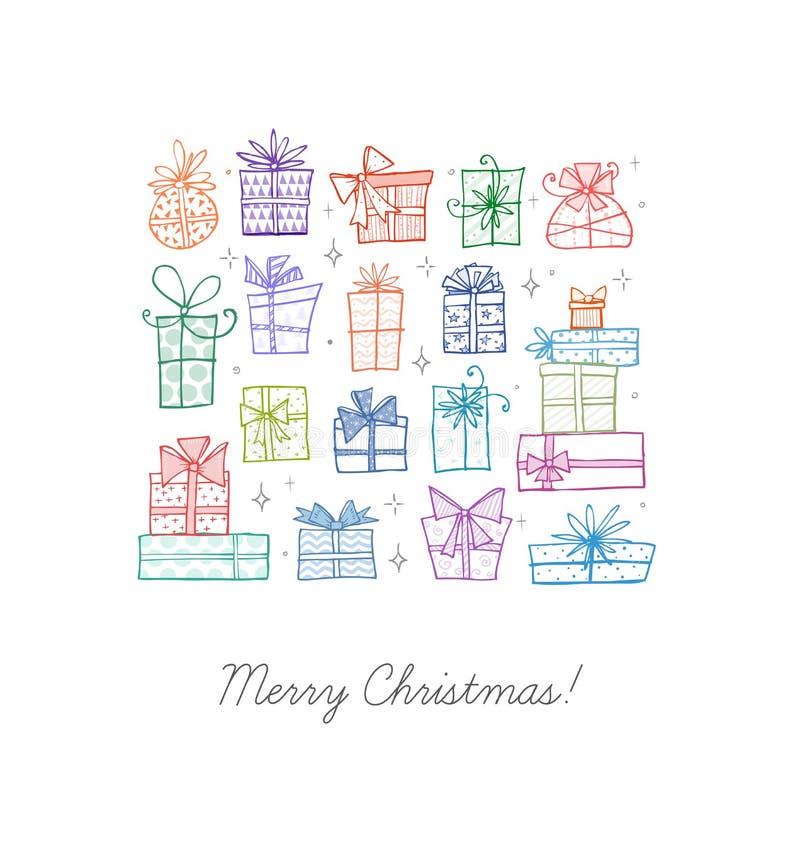 Carte de voeux avec les boîte-cadeau colorés de griffonnage de Noël Illustration de vecteur dans le style simple illustration stock