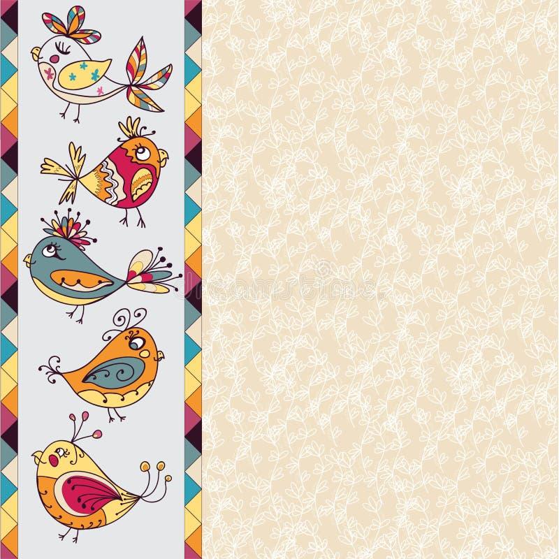 Carte de voeux avec les fleurs et l'oiseau illustration stock