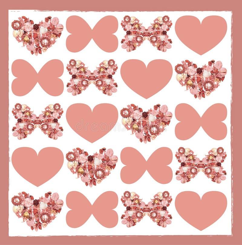Carte de voeux avec les fleurs sèches sous la forme de papillon et de coeur illustration stock