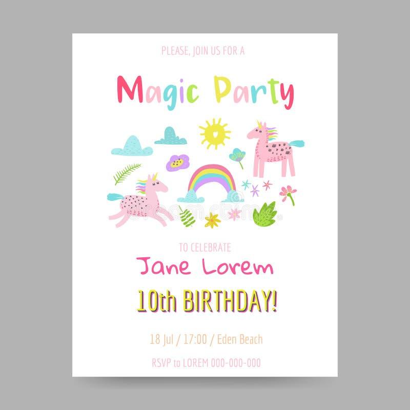 Carte de voeux avec les licornes, l'arc-en-ciel et les fleurs magiques mignons Affiche d'enfants d'imagination, invitation de joy illustration stock