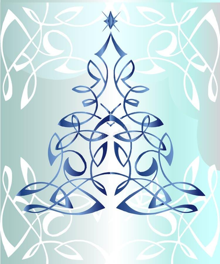 Carte de voeux avec Noël sur un fond bleu illustration de vecteur
