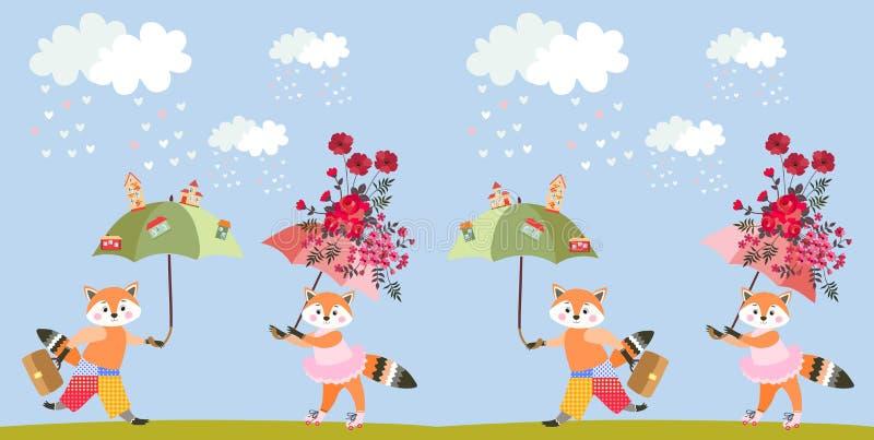 Carte de voeux avec de petits renards de bande dessinée mignonne avec les parapluies féeriques ou la copie animale sans fin Modèl illustration de vecteur