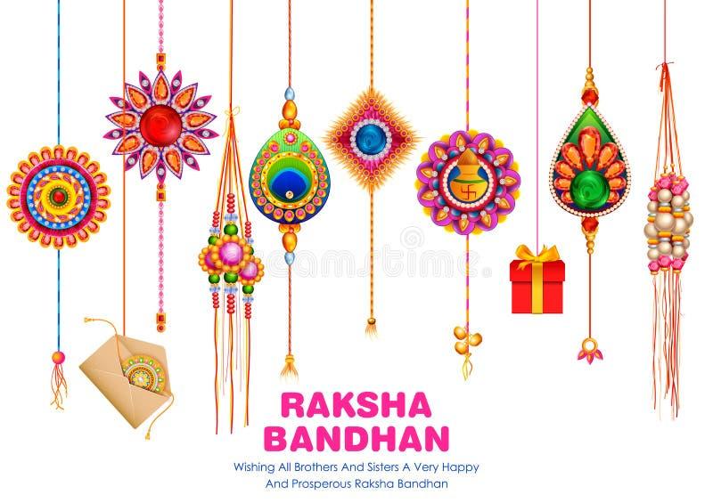 Carte de voeux avec Rakhi d?coratif pour le fond de Raksha Bandhan illustration stock
