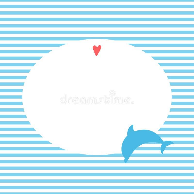 Carte de voeux avec un dauphin dans un style marin illustration libre de droits