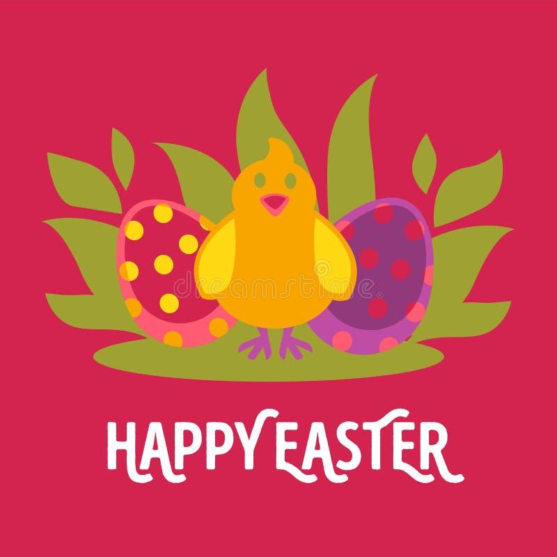 Carte de voeux de bande dessinée de vecteur de Pâques avec le poulet illustration stock