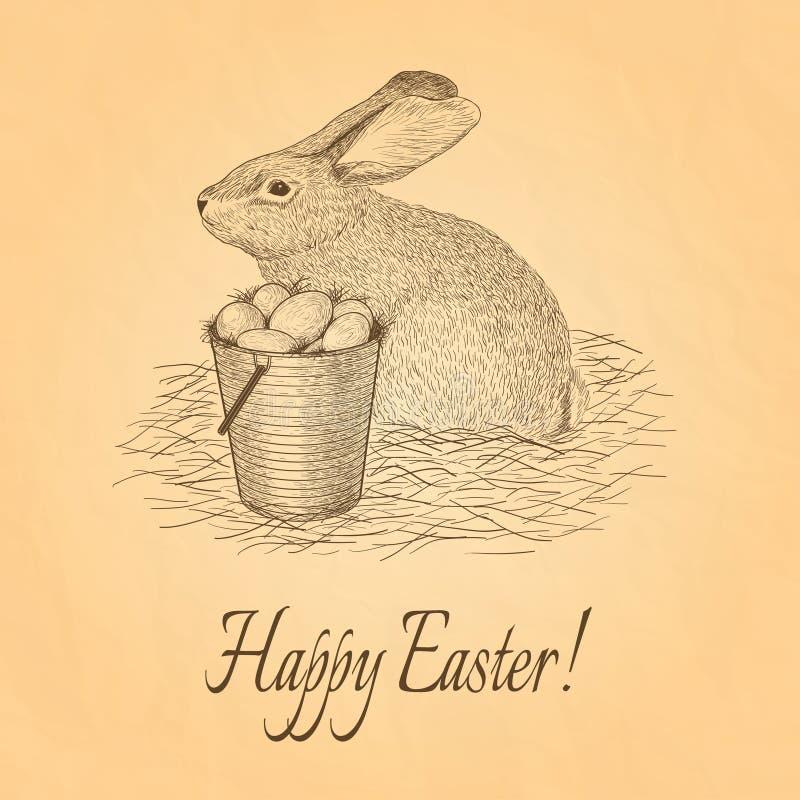 Carte de voeux banny de Pâques rétro Dirigez l'illustration, EPS10 photo stock