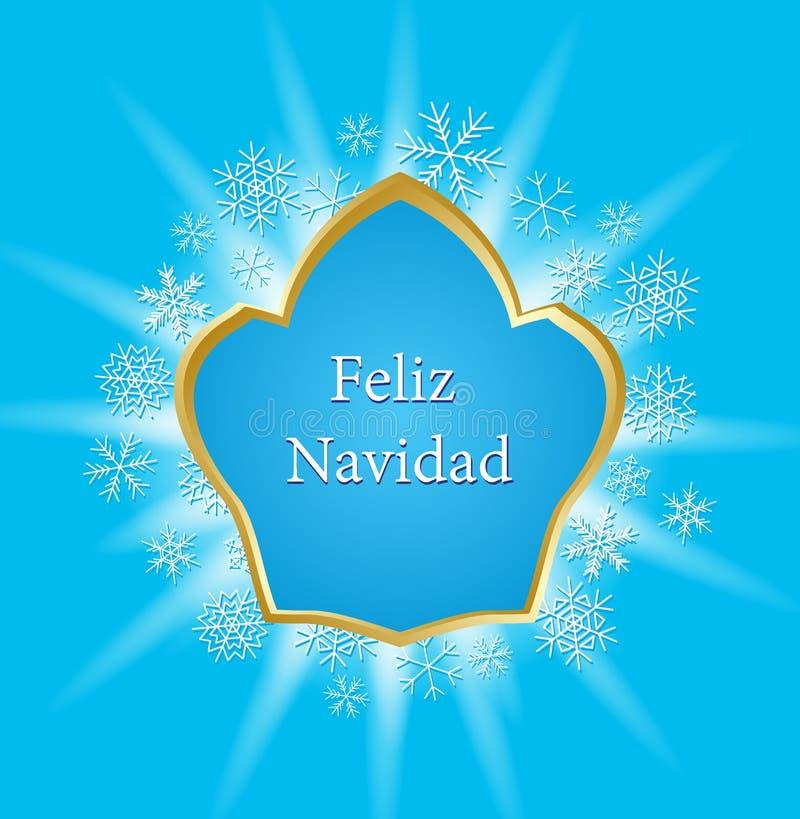 Carte de voeux bleue pour Noël - dirigez le navidad de feliz illustration stock
