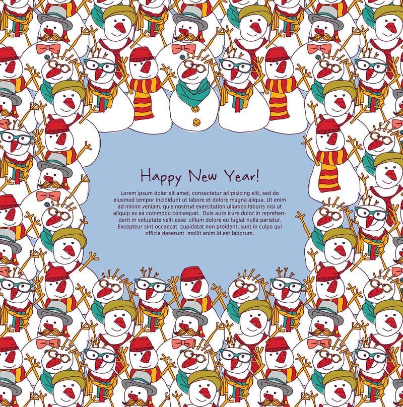 Carte de voeux de bonhommes de neige de foule de cadre de nouvelle année illustration de vecteur