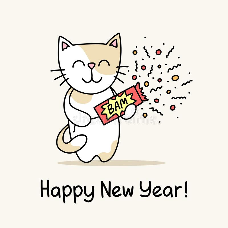 Carte de voeux de bonne année avec le chat mignon qui tient la comique dans des ses mains Affiche animale d'illustration de vecte illustration de vecteur