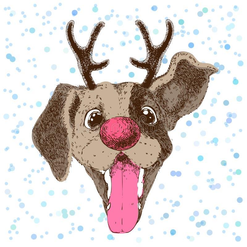 Carte de voeux de bonne année avec le portrait de vecteur du chien drôle avec l'andouiller illustration stock