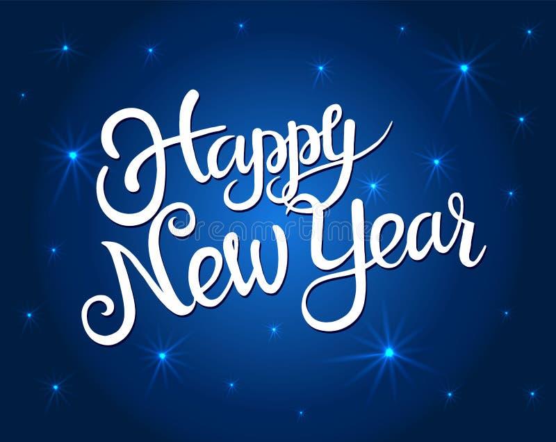 Carte de voeux de bonne année avec les étoiles blanches lumineuses de lettrage et de briller Lettrage de vecteur pour des bannièr illustration libre de droits