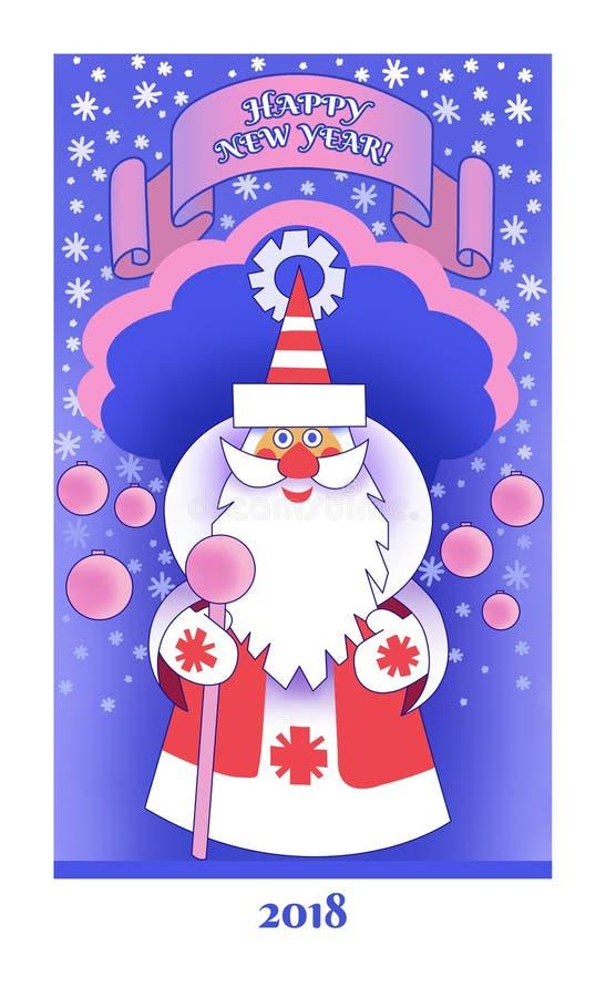 Carte de voeux de bonne année et de Joyeux Noël pour 2018 avec Santa Claus images libres de droits