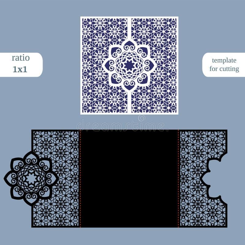Carte de voeux carrée à jour de papier, invitation de mariage, calibre pour la coupure illustration libre de droits