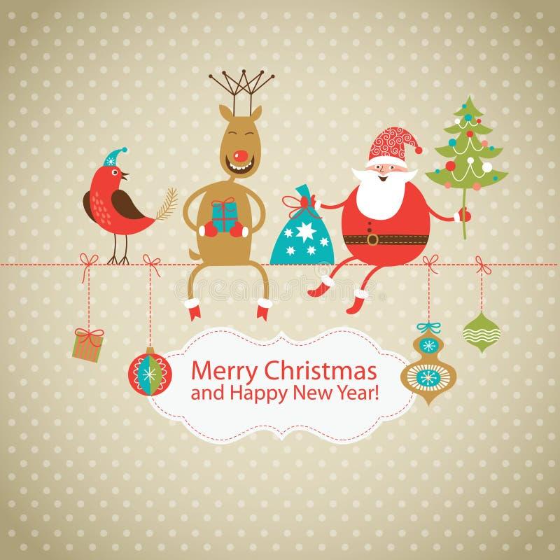 Carte de voeux, carte de Noël illustration libre de droits