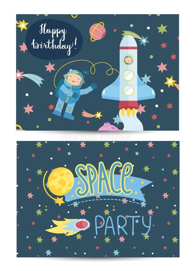 Carte de voeux colorée de bande dessinée de joyeux anniversaire illustration stock
